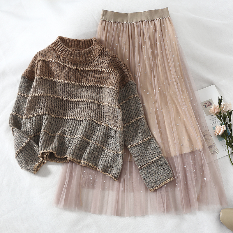 2019 New Fashion Women's Two Piece Set Autumn And Winter Loose Striped Sweater+mesh Skirt Female Tide