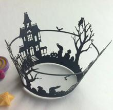 360pcs/lot Laser Cut Paper Surrounding Edge House Tree Design Cake Wrapping Banquet Party Dessert Packing wc511