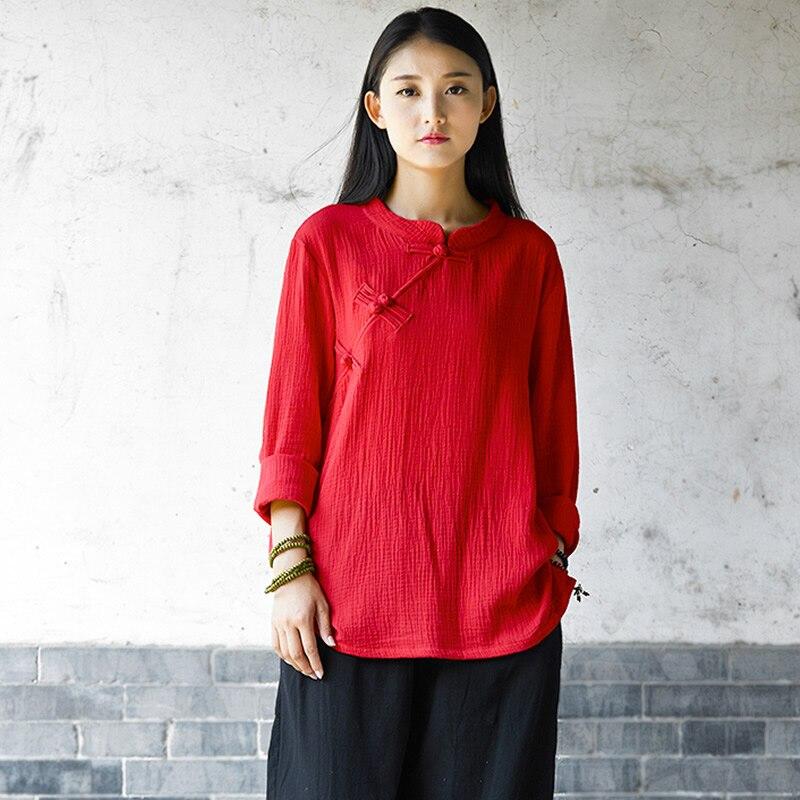 e84df3d04 Estilo chinês Mulheres Blusa Camisa de Algodão de manga Longa Outono  Vermelho Sólido Branco Blusa Ocasional Do Vintage design Original Camisa  Tops B140