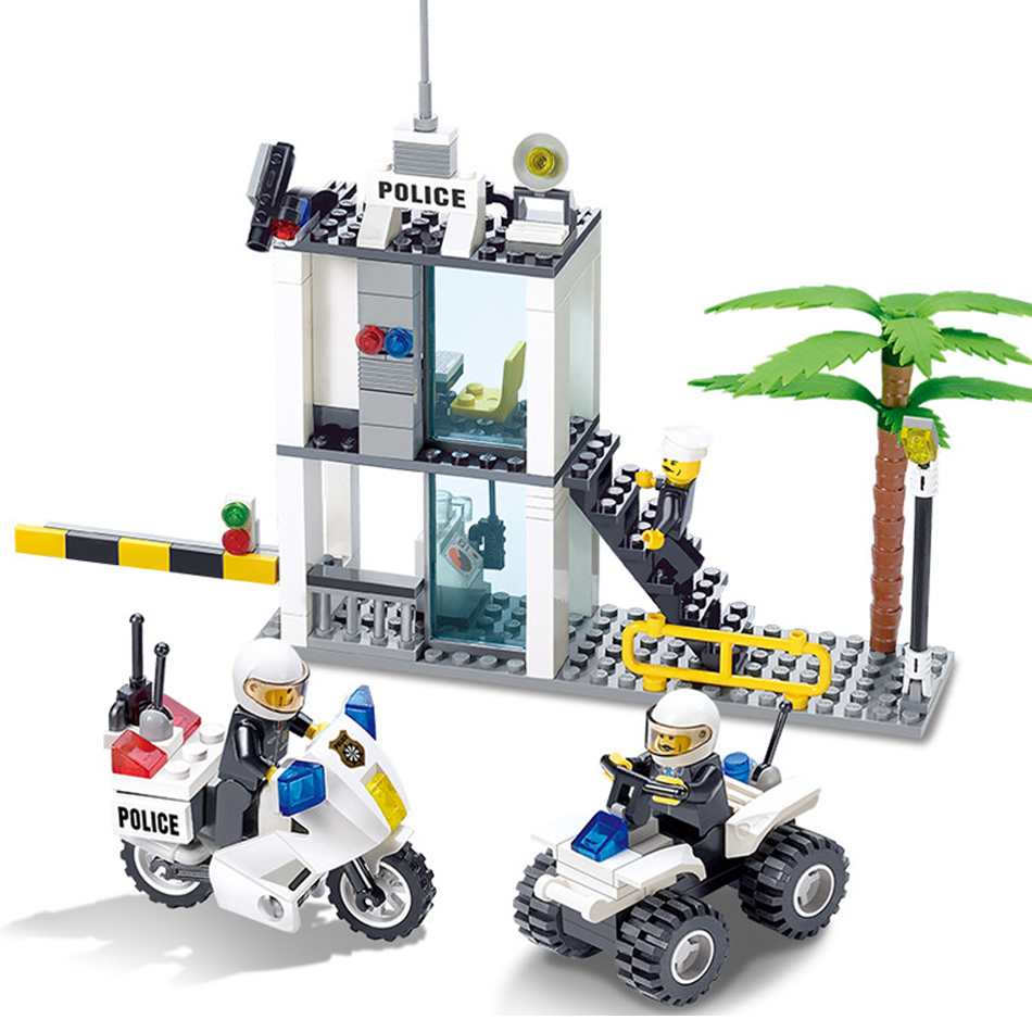 193pcs Police Station Compatible Legos City Building Blocks Toy For children Gift Police Command Cente Construction Bricks Toys 6727 city street police station car truck building blocks bricks educational toys for children gift christmas legoings 511pcs