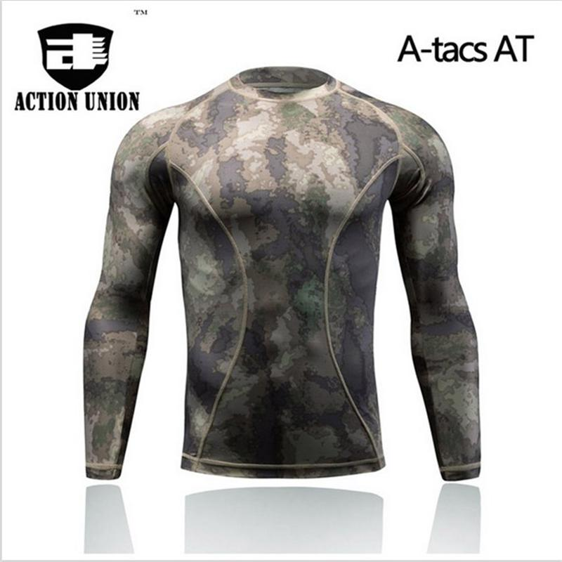 ACTION UNION Summer Military Camouflage T-shirt Men Tactical Army Combat T Shirt Quick Dry long Sleeve Camo Clothing Casual O Ne