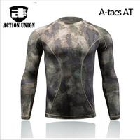 ACTION UNION Zomer Militaire Camouflage T-shirt Mannen Tactical Army Combat t-shirt sneldrogende lange mouw camo clothing casual o Ne