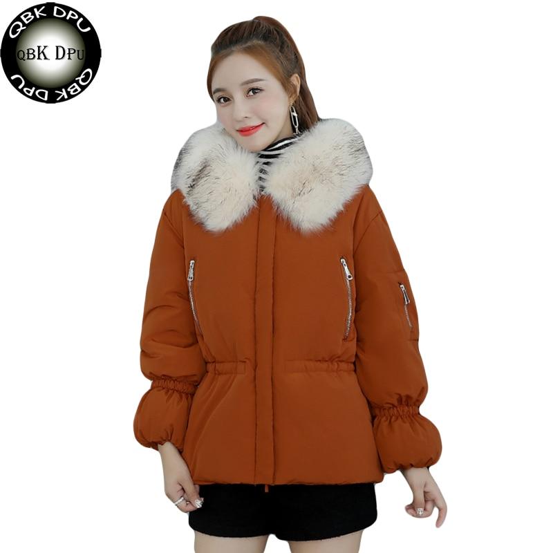 Hot Sale Large Fur Collar With Hooded Parkas Outwear Women Fashion Slim Waist Pocket Overcoat Snow Wear Warm Short Winter Jacket