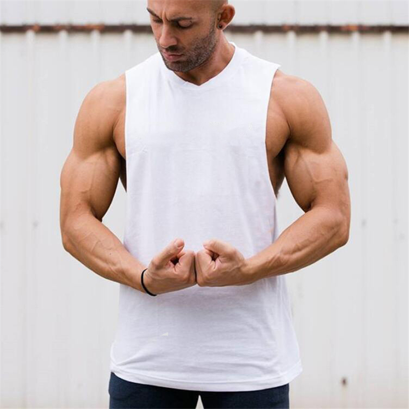 New solid Bodybuilding Stringer   Tank     Tops   Mens Cotton Sportwear Tanktops vest Fitness Men gyms Clothing sleeveless shirt