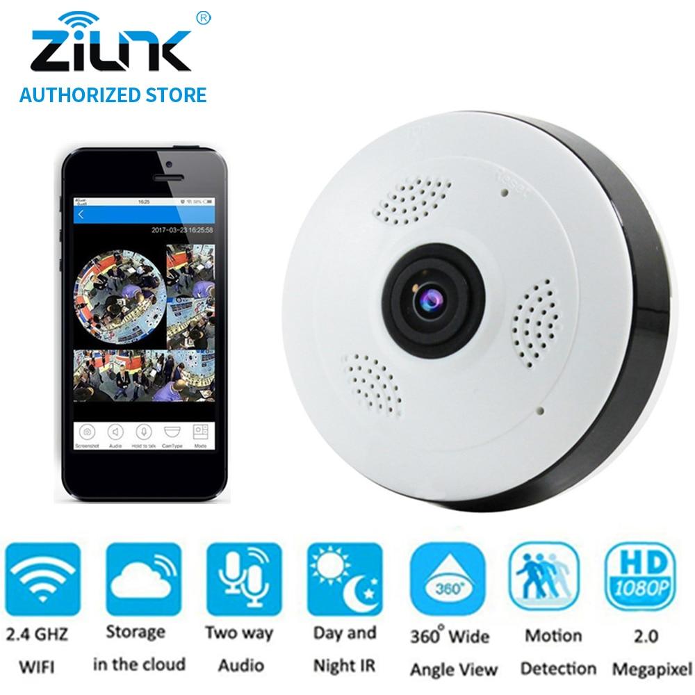 цена на ZILNK 2MP 1080P Full HD Fisheye 360 Degree Panoramic P2P IP Camera Two Way Audio Home Security CCTV VR Cam Support TF Card White