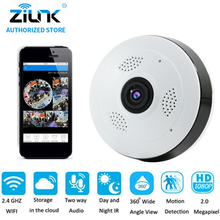 ZILNK 2MP 1080P Full HD Fisheye 360 Degree Panoramic P2P IP Camera Two Way Audio Home Security CCTV VR Cam Support TF Card White