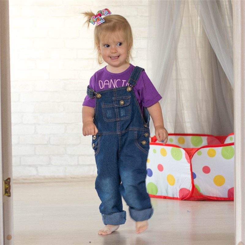 Boys Jeans Overalls 2018 Fashion Autumn Children Strap Solid Cotton Jumpsuit Casual Kids Girls Clothing Overalls Pants Ov009 by Meil