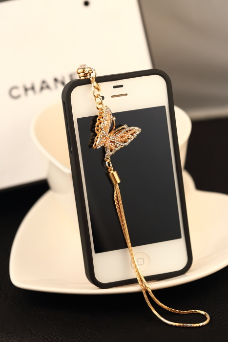 Hot Sales Exquisite Pearl Diamond Long Chain Butterfly Dust-proof Plug for IPhone for Samsung for Htc for Xiaomi for LG