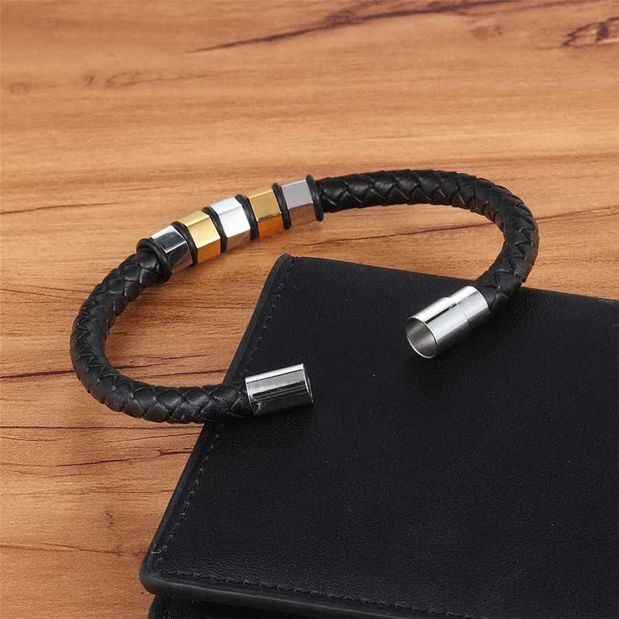XQNI geometryczna konstrukcja złoty/stal blokujące bransoleta ze stali nierdzewnej magnetyczne zapięcie z prawdziwej skóry bransoletka i bransoletka dla mężczyzn