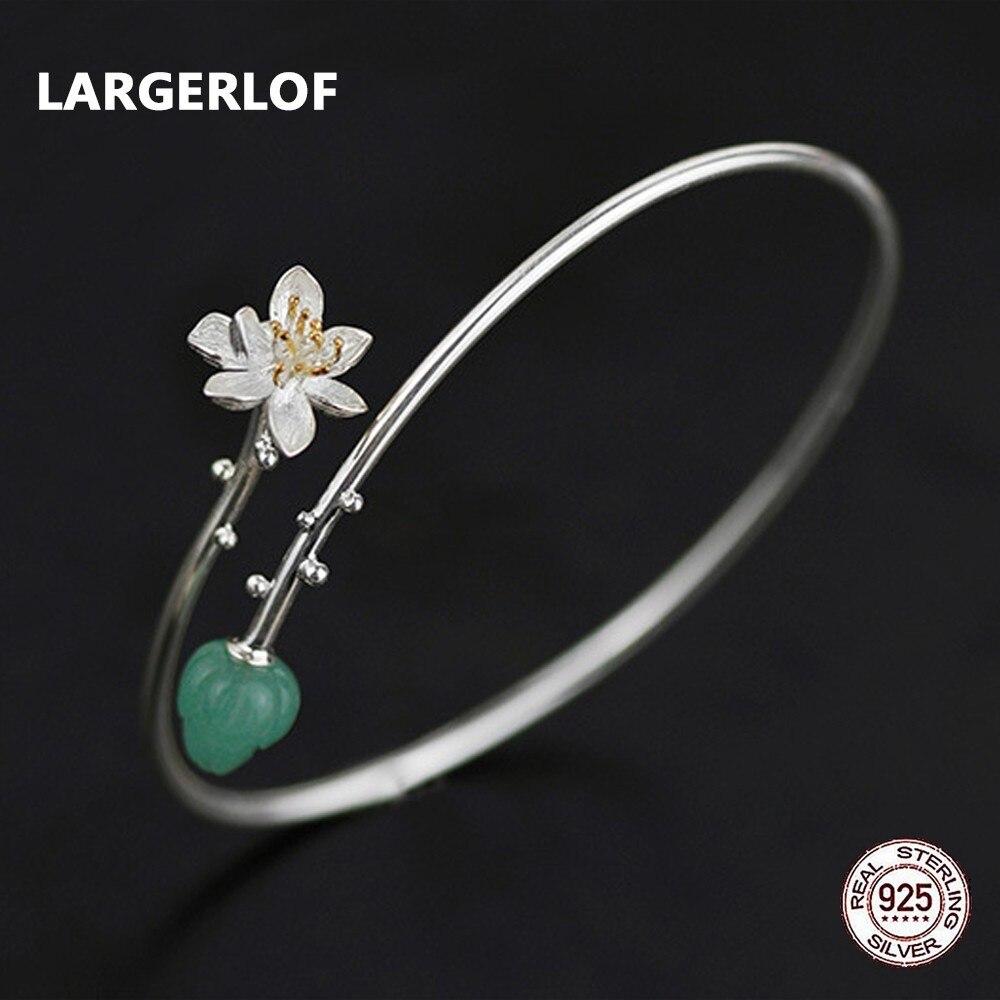 LARGERLOF 925 Sterling Silver Bangle Adjustable Chalcedony Fine Jewelry Simple Vintage Crystal Bracelets For Women SZ37004