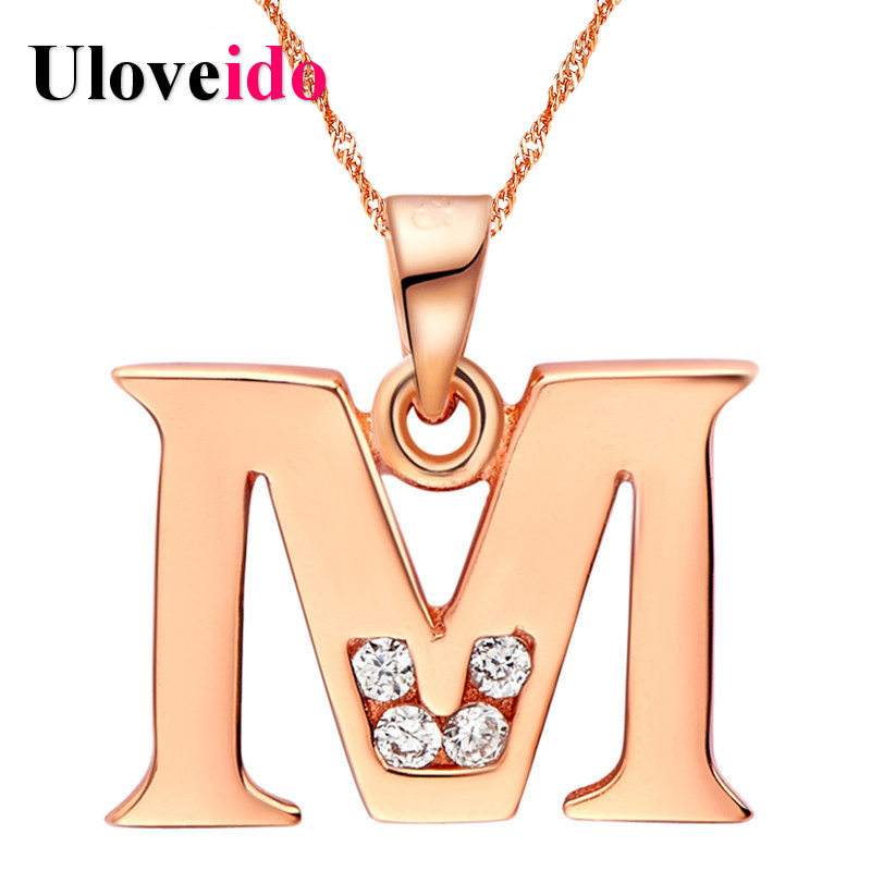 Letter A B C D E F G H I J K L M N O P Q I S T U V W X Y Z Necklaces for Men/Women Rose Gold Color Uloveido Fashion Jewelry ...