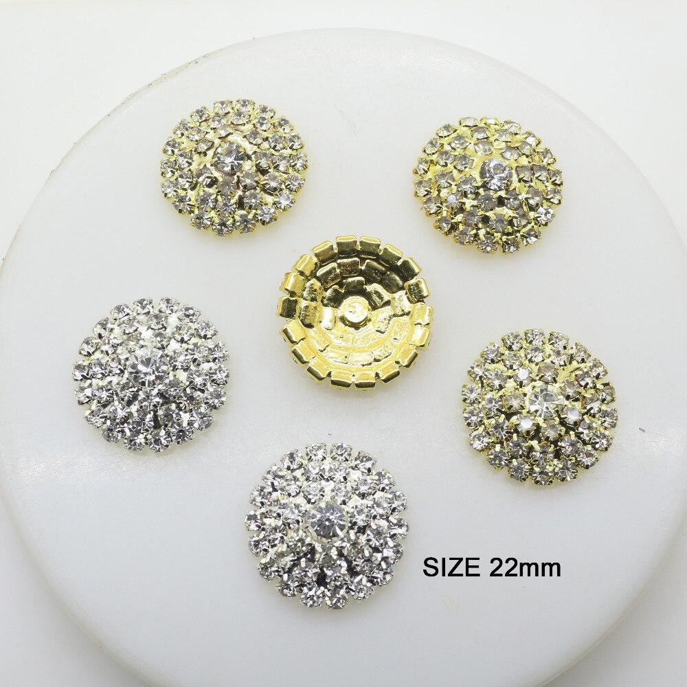ZMASEY 5Pcs/Lot 22mm Metal Buttons Diamond DIY Silver Or Gold Flatback Buttons Acessories Handwork Ribbon Decorative