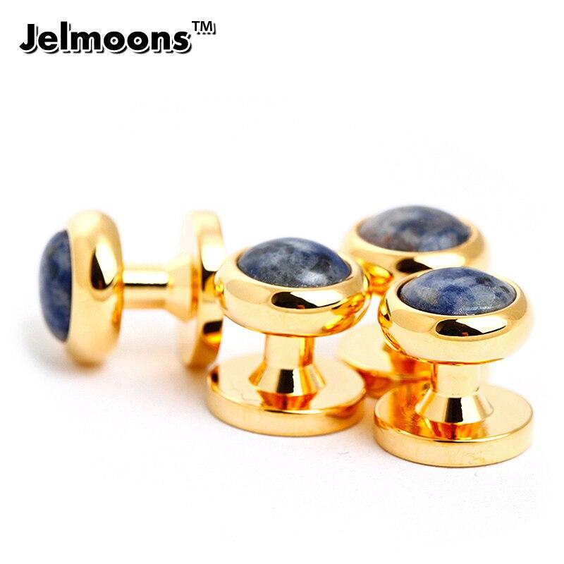 ᗕ4 unids clavos de oro para hombre Camisas Botones - a717