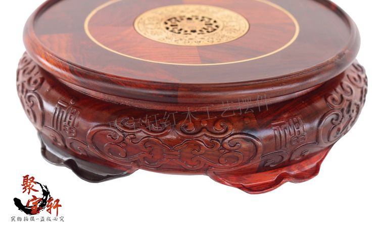 Special offer solid wood carved rosewood mahogany handicraft circular base of Buddha stone flowerpot vase furnishing articles in Coffee Tables from Furniture
