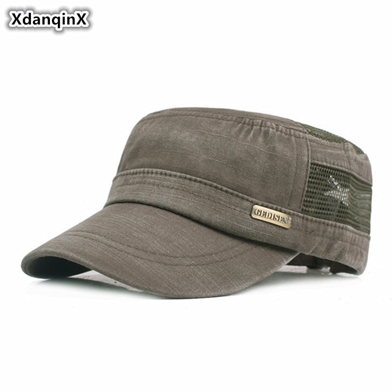 XdanqinX 2019 New Style Men's Mesh Flat Caps Summer Washed Cotton Hollow Breathable Military Hats For Men Adjustable Size Cap
