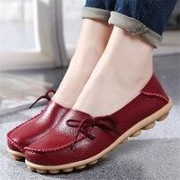 Big Sale Flats Women Four Season 2016 Casual Shoes Women Flat Heel Cow Split Outsole Fashion