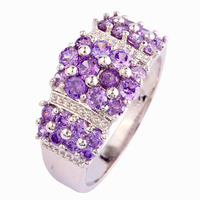 New Fashion Luxurious Style Rings Absorbing Purple Amethyst 925 Silver Ring Size 9 Women Jewelry Wholesale Free Shipping