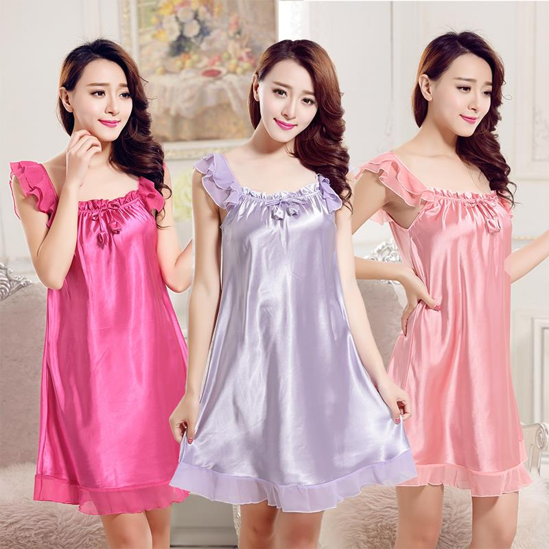 e31f7e7869 2016 summer 100% satin silk women nightgown sexy ladies nightie lace  nightdress sleepshirt chemises slip sleepwear nightwear sle-in Nightgowns &  Sleepshirts ...