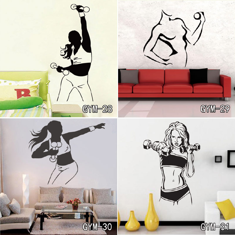 Huge Home Gym With Red Walls Home Gym Ideas: GYM Wallpaper Boy Or Girl Bedroom Fitness Gym Wall Decal