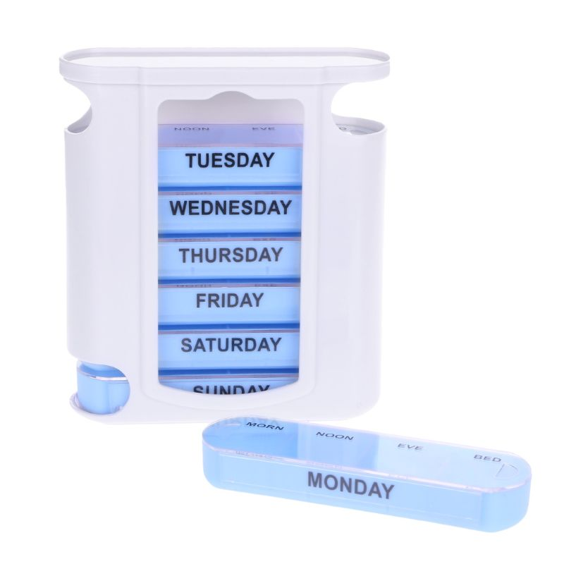 7 DAY WEEKLY Pill Organiser STACKING TOWER Large 4 Daily Compartments Tablet Box Personal Health Care Pill Cases Splitters