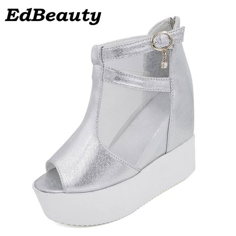 Ed Beauty fashion 2017 Mesh Gladiator Sandals Silver Summer Creepers Casual Women Ankle Boots Slip On Shoes Woman Platform Flats 2017 gladiator sandals summer platform shoes woman gold silver flats buckle women shoes fashion creepers xwz6816