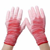 1 Paar PU Beschichtete palm Rutschfeste Streifen Handschuhe Antistatische Arbeitshandschuhe Nylon Gestrickt Breathable haltbare Handschuhe Für arbeiter