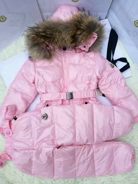 На продажу 130 см 140 см Snown Костюм Девушки вниз пальто ребенок вниз куртки девушки утка вниз Меха с капюшоном пальто набор детей верхняя одежда известных