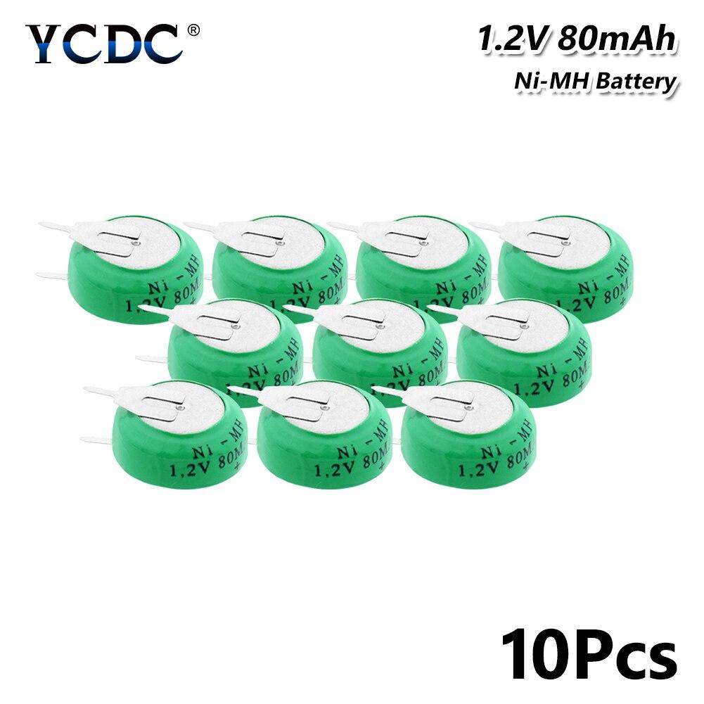 1.2V 80mAh Ni-MH Baterias Li-Po Li-Bateria de polímero De Lítio Recarregável Botão Bateria de Célula tipo Moeda Com pinos de solda 10Pcs para o brinquedo