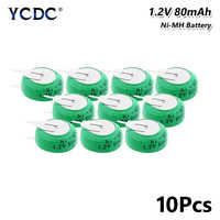 1.2V 80mAh Ni-MH Li-Po Lithium Li-polymer Bateria Batteries Rechargeable Button Coin Cell Battery With Solder Pins 10Pcs for toy