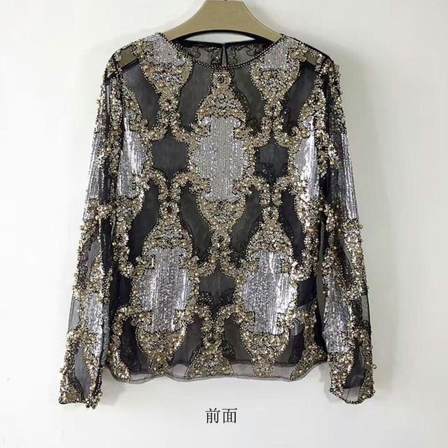 DYT011 Женщин новый Блестки высокого класса бутик тяжелое Вышитый Бисером блестками с длинными рукавами рукав рубашки Дна рубашки/2 цвета 3 размер