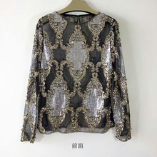 DYT011 Women new Sequins high end boutique heavy Beaded sequined long sleeved shirt sleeve Bottoming shirts