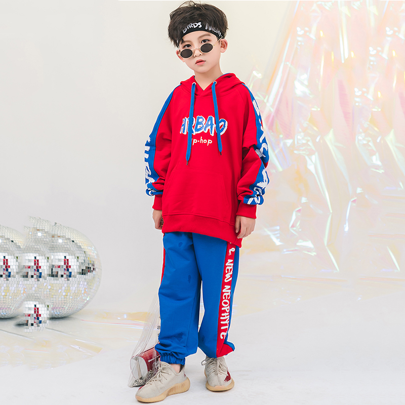 Jazz Dance Costume Kids Hip Hop Clothes Red Hooded Long Sleeve Blue Pants Boys Modern Performance Wear Childs Outfit DNV10912