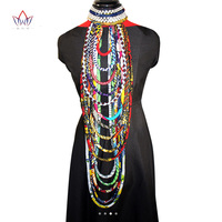 BRW 2017 African Ankara Necklace Wax Print Fabric Colorful Necklace Shawl African Ankara Handmade Necklace Tribal
