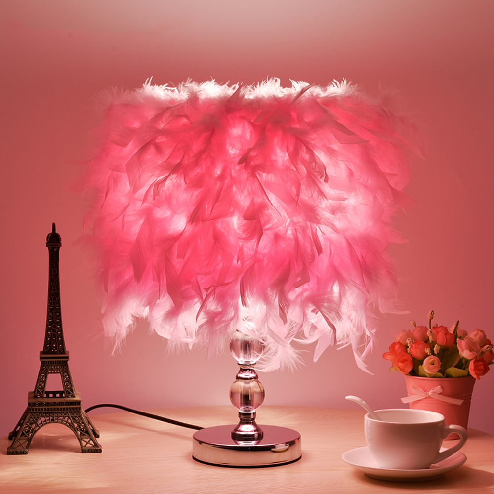 Feather Table Lighting E27 Mini Touch Switch Study Lamp 110-220v Bedside Romantic Metal Crystal Table Lamp Luminarias