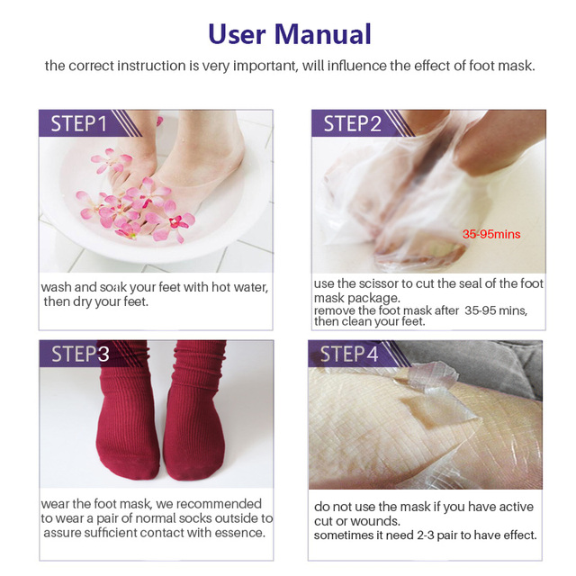 2Pair=4Pcs Baby Feet Mask Exfoliation Dead Skin Foot Mask for Legs Cream Exfoliating Mask Foot Care Socks for Pedicure Spa Socks