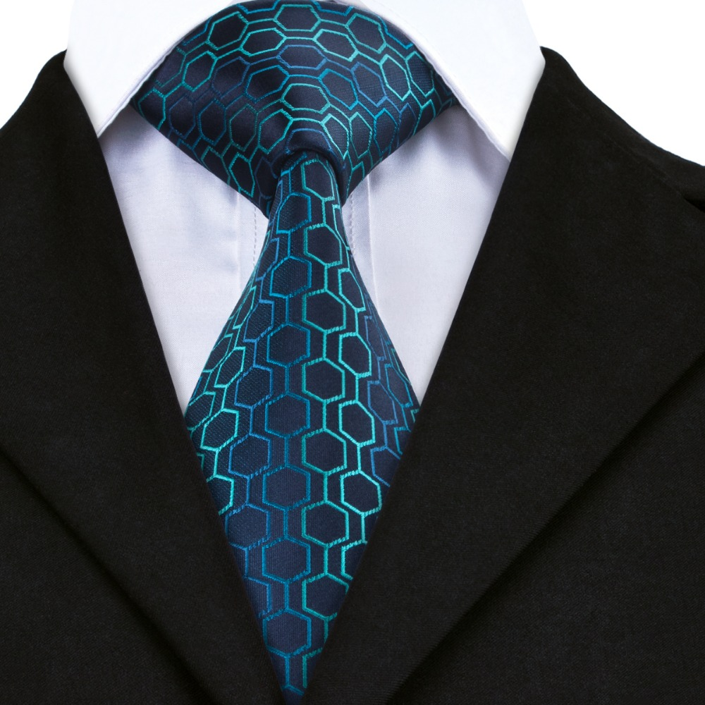 3b3e542d0d72 Darkblue skyblue Geometric Classic Ties Jacquard Woven Silk Tie For Men  gravata Formal Business Wedding Party 8.5CM width A-534