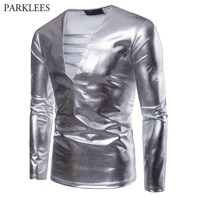 0ee531643be Silver Metallic T Shirt Men 2018 Deep V Neck Mens T-Shirts Casual Slim Fit  Long Sleeve Tee Shirt Homme Nightclub Dance Top Tees