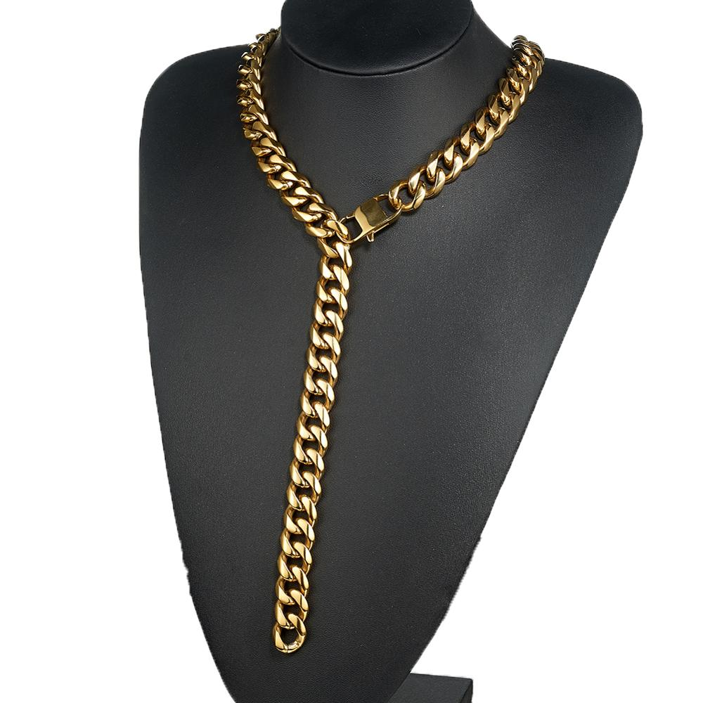 13 15 17 19mm Gold Curb Link Chain Xxxtentacion Adjustable Choker with Tail Hip Hop Rapper Miami Stainless Steel Men Necklace in Chain Necklaces from Jewelry Accessories