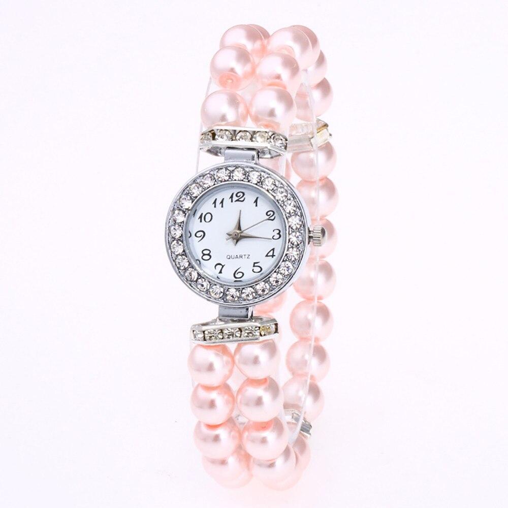 Hot sale watch Fashion Women Casual Pearl String Watch Strap Quartz Wrist Rhinestone WatchChristmas Gift 17Dec12