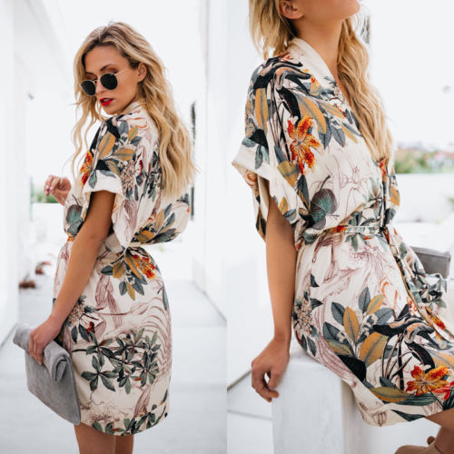 New Style Womens Floral Bikini Cover Up Side Split Dress 2018 Ladies Summer Bandge Cardigan Beach Cape Dresses Sundress