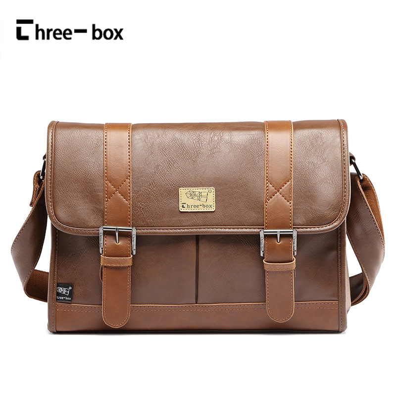 Three-box Famous Men Shoulder Bags Business Large Capacity Leather Crossbody Bag Brand Vintage Men Messenger Bags Briefcase