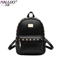 MALLUO Women Backpack Fashion Causal Bags High Quality Rivet Female Shoulder Bag PU Leather Backpacks For