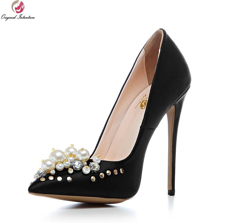 b3d85dbb9 Intenção Original Lindo Mulheres Bombas Dedo Do Pé Apontado Saltos Finos  Bombas de Sapatos De Prata de Ouro Preto Elegante Mulher EUA Tamanho 3.5  10.5 em ...