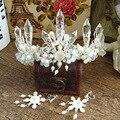 Новое Поступление Великолепный кисти Перл Кристалл Princess Crown Моды Вырос горный хрусталь Диадема для Невесты Свадебные Аксессуары Для волос