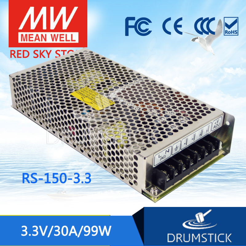 MEAN WELL RS-150-3.3 3.3V 30A meanwell RS-150 3.3V 99W Single Output Switching Power Supply [Real1] [powernex] mean well original rs 100 24 meanwell rs 100 single output switching power supply