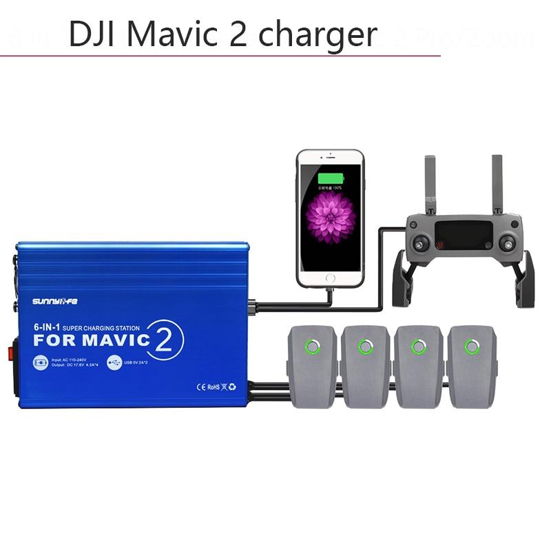 Chargeur de batterie Multi intelligent rapide 6 en 1 moyeu de charge pour DJI mavic2 Pro/Zoom Drone télécommande accessoires pièces
