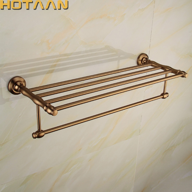 High Quality Antique Brass Wall Mount Aluminum Bathroom Accessories Double Towel Rack, Towel holder for batrhoom YT-10801 foldable antique copper bath towel rack wall mount active bathroom towel holder double towel shelf bathroom accessories sj6