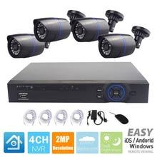 FULL HD 1080 P Система Видеонаблюдения PoE Комплект 4CH CCTV система видеонаблюдения PoE 4CH POE NVR 2MP+ 4 шт. 1080 P Открытый PoE IP набор камер наблюдения