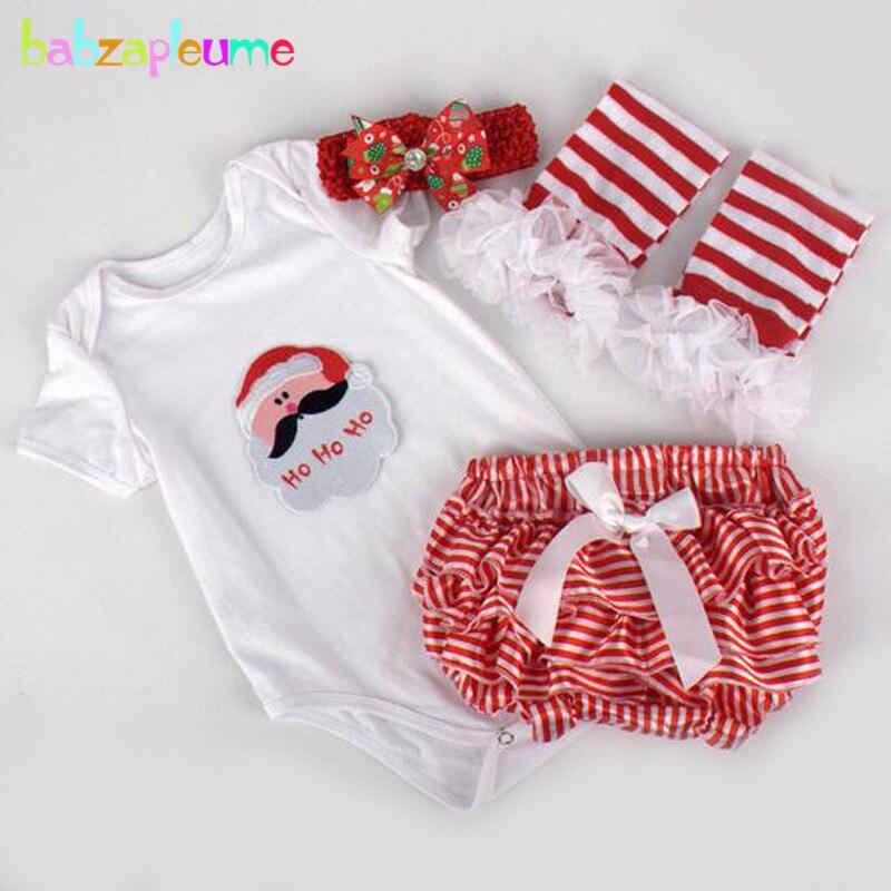4Piece 0 12M Christmas Newborn Clothes Set Cartoon Santa Claus Baby Girls Bodysuits Shorts Shoes Headband