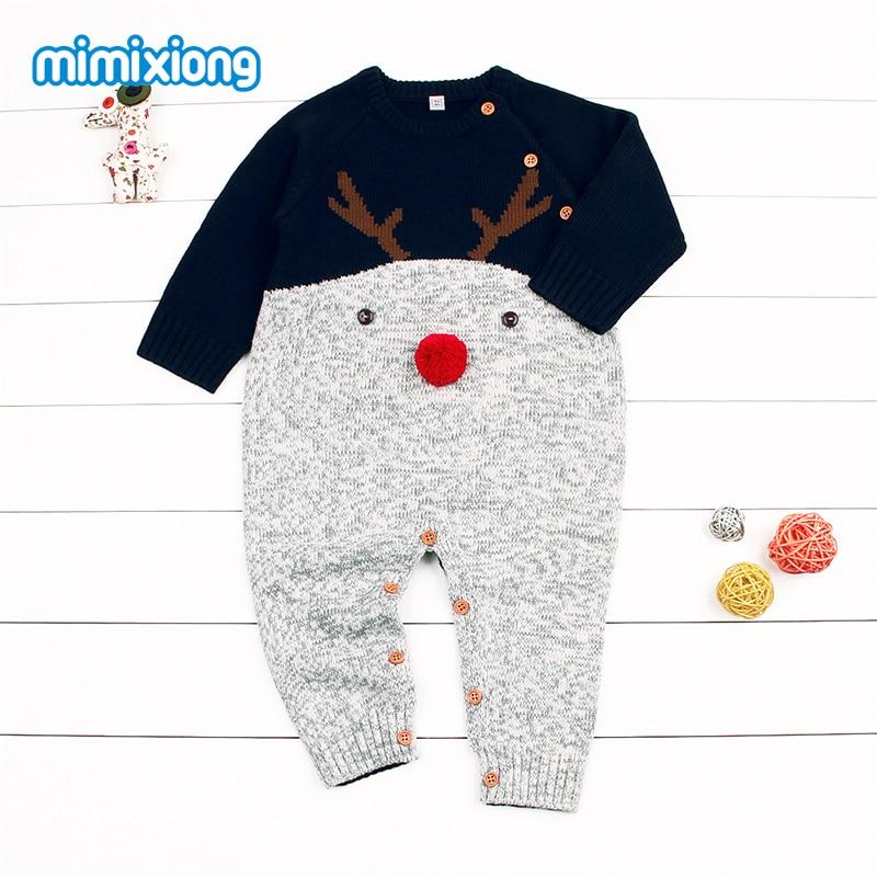 Babies Christmas Reindeer Romper z długim rękawem Nowonarodzone - Odzież dla niemowląt - Zdjęcie 2